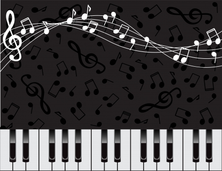 dark background with piano keys and notes
