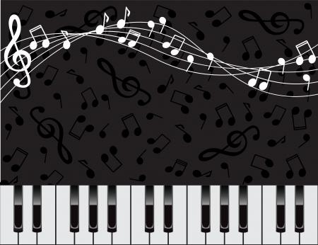 dunklen Hintergrund mit Klaviertasten und Noten Illustration