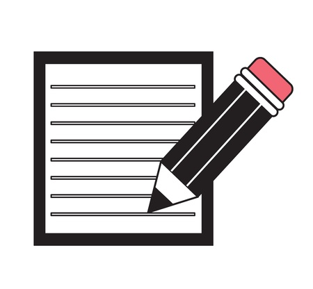 clerical icon with a pencil with an eraser and a sheet in the line Stock Vector - 16969216