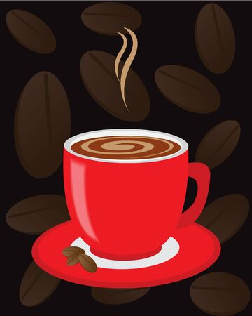 Red cup of coffee on a dark background with coffee beans Stock Vector - 16969220