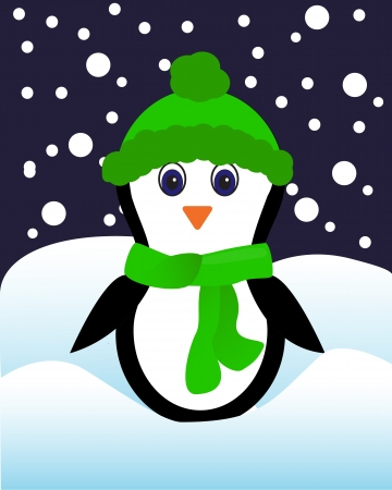 penguin in a green hat and scarf standing in the snow   Stock Vector - 16969217