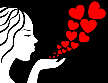 female silhouette with arms blown off Hearts     Vector
