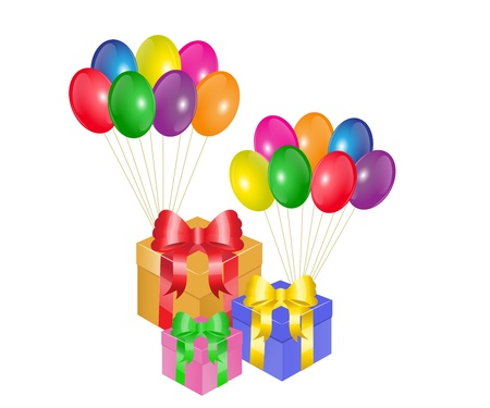 suprise:   colorful balloons and gift boxes with bows on a white background