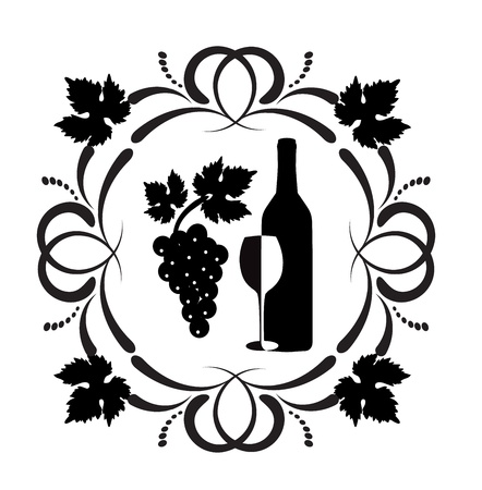 bunch of grapes: bottle of wine, a glass and a bunch of grapes surrounded by ornaments of scrolls and grape leaves  Illustration