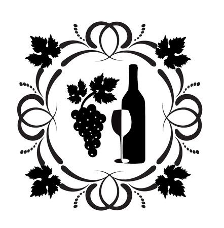 wijn en spijzen: fles wijn, een glas en een tros druiven omgeven door ornamenten van rollen en druivenbladeren Stock Illustratie
