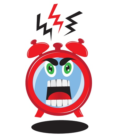 Ringing alarm clock with RED EVIL FACE Screaming on the dial Vector