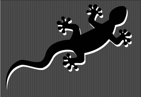 zoological: silhouette of a gecko on a striped background in shades of gray