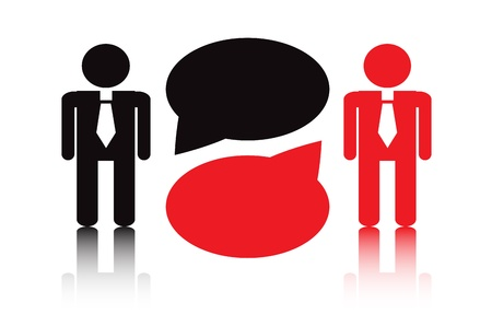 two men talking: two silhouettes in a tie standing next to each other are business negotiations Illustration