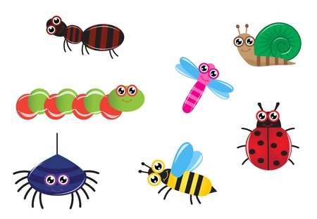 stinging: Set cartoon insect ant, caterpillar, spider, bee, dragonfly and ladybug Illustration