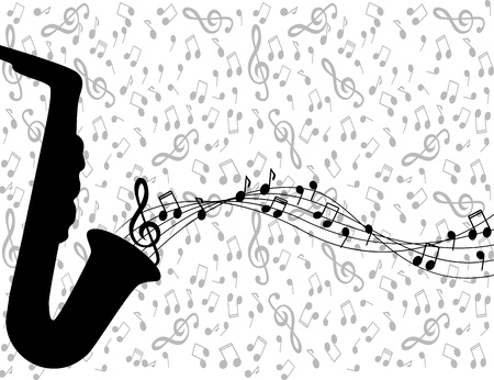 black silhouette of a saxophone and notes on a light background Stock Vector - 17140599