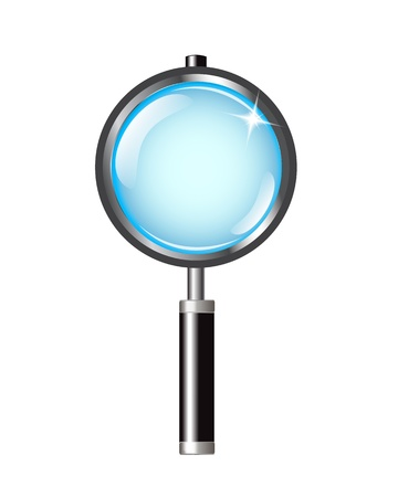 magnifier with shiny black handle on a white background Stock Vector - 17140600