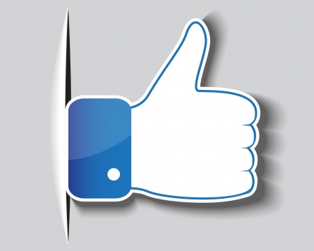 protruding: Paper approved symbol of a hand with a clenched fist and protruding thumb Illustration