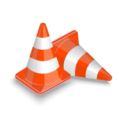 two striped orange traffic cone on a white background   Stock Vector - 17140604