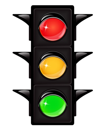 Black traffic light with reflections on a white background Stock Vector - 17183251