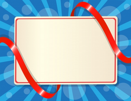 congratulatory: greeting card entwined red ribbon on blue background