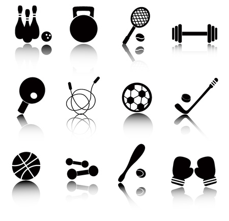 professional equipment: Set black and white icon with sports items