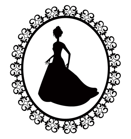 cartoon dress: retro silhouette of a woman in a long dress with ornate frame Illustration