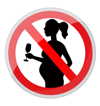 banned: red prohibition sign-pregnant woman with a glass of alcohol