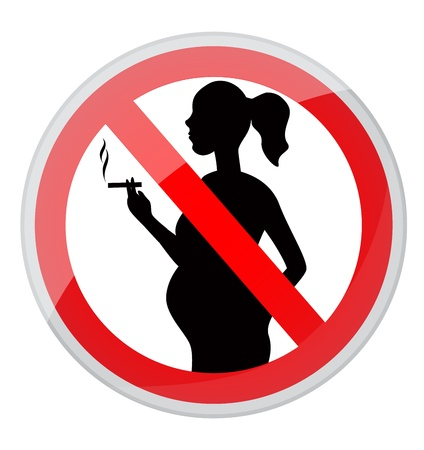 smouldering cigarette: red prohibition sign-pregnant woman with a cigarette