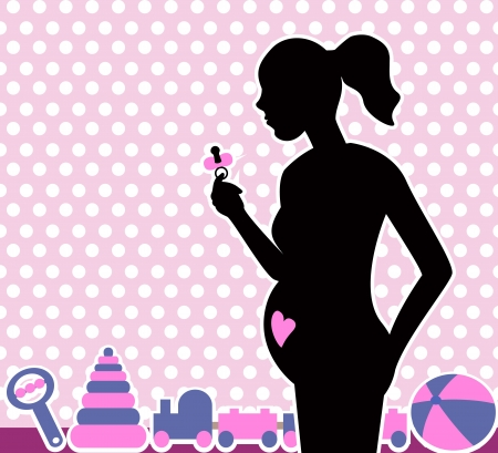 silhouette of a pregnant woman with a pacifier in her hand on a background of children s toys   Stock Vector - 17307659
