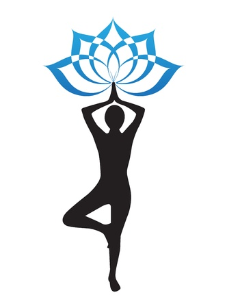 indian yoga: silhouette di una donna che sta facendo yoga e fiore di loto
