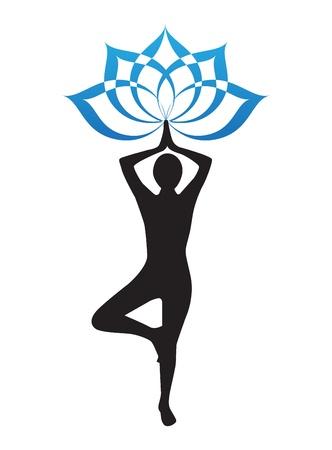 flor de loto: silueta de una mujer que hace yoga y la flor de loto Vectores