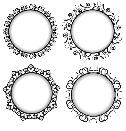 four black retro frame with a pattern Stock Vector - 17367501