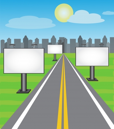 billboards along the road leading into the city Vector