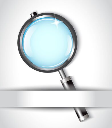 magnifier with shiny black pen and paper   Stock Vector - 17438093