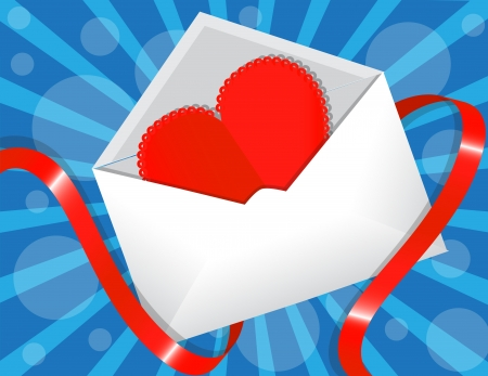 red paper heart in the envelope on a blue background. Envelope wraps shiny red ribbon Stock Vector - 17438084