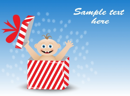 saltation: smiling baby in a striped gift box on a blue background