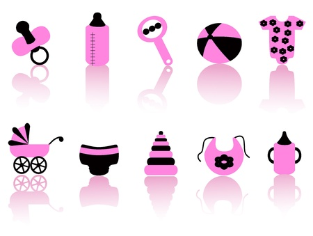 pamper: black and pink baby equipment icons with reflection on white background   Illustration