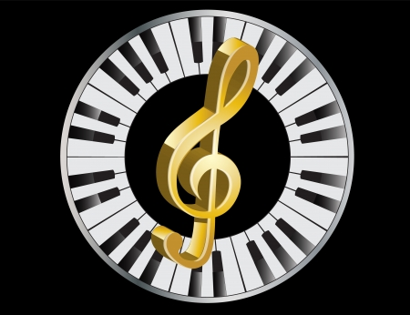 octave: three-dimensional golden treble clef in a frame of piano keys   Illustration