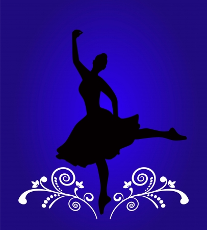 Ballerina silhouette on a blue background with a pattern.   Vector