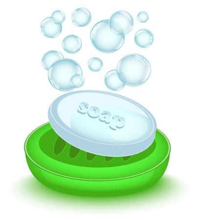 ba�o blanco: jab�n brillante con burbujas en un plato de jab�n verde brillante Vectores