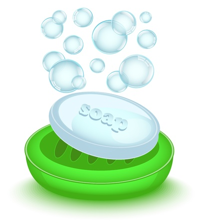 shiny soap with bubbles in a shiny green soap dish Illustration