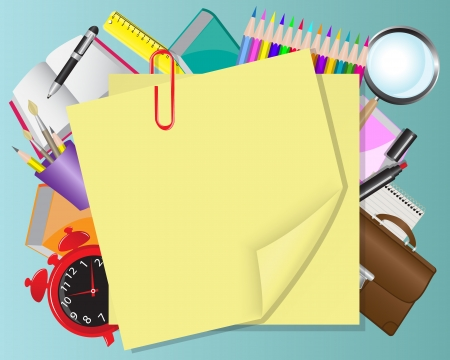 teaching crayons: background with yellow paper and school objects   Illustration