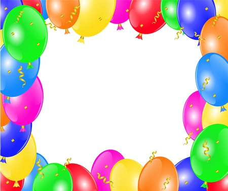frame with multi-colored balloons, ribbon, and serpentine   Vector