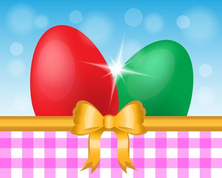 Easter card with two colored eggs  bow in the sky and Italian cells Stock Vector - 17680380