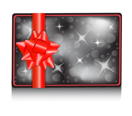 copy spase: Black gift card with a shiny red bow