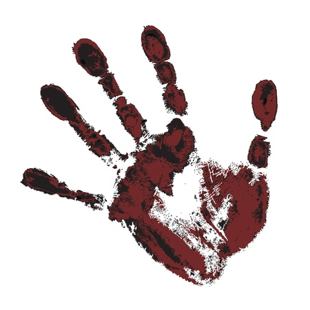 black and maroon handprint on a white background Stock Vector - 17680376