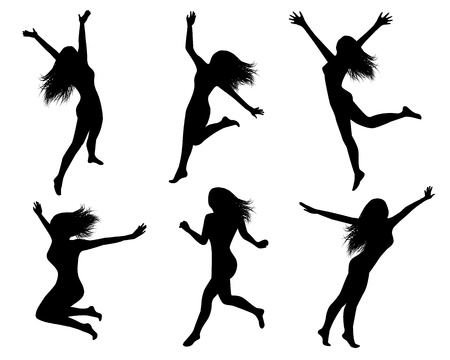 flying woman: Set of black silhouettes of jumping women