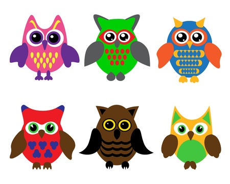 cartoons designs: collection of six different colored cartoon owls on a white background Illustration