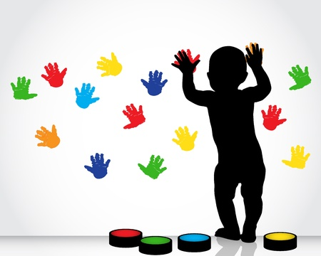 silhouette of a child draws on a white wall with colored hand prints   Illustration