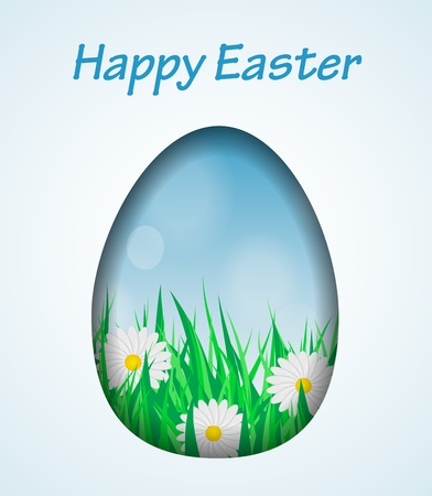 Easter card with a hole in the shape of an egg  Inside the card grass, daisies and blue sky     Stock Vector - 17820059