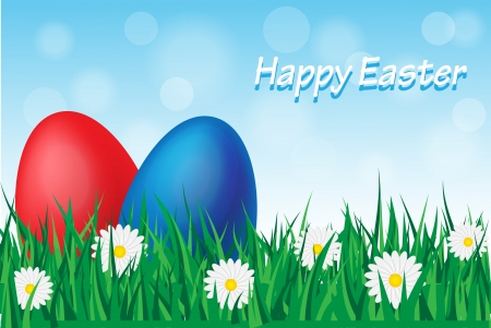 Easter eggs in the grass among the daisies Stock Vector - 17820060