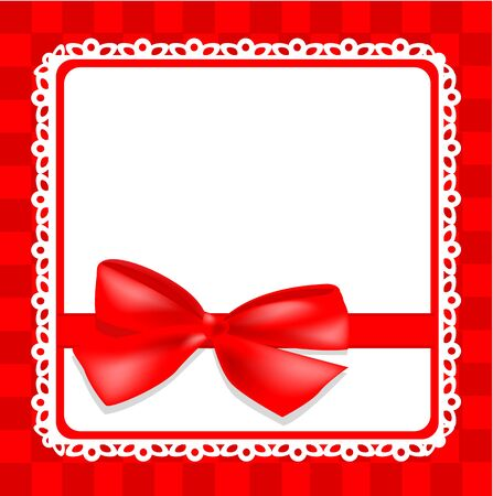 delicate white card with a red bow on a red checkered background   Vector