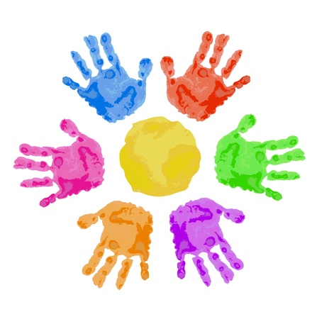 body painting:   sun sign is made of colorful child hand prints