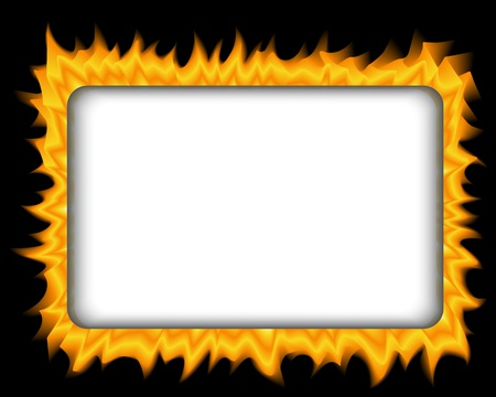 rectangular frame of fire on a black background Stock Vector - 17820065