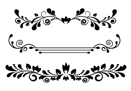 vintage black patterned dividers and borders on a white background